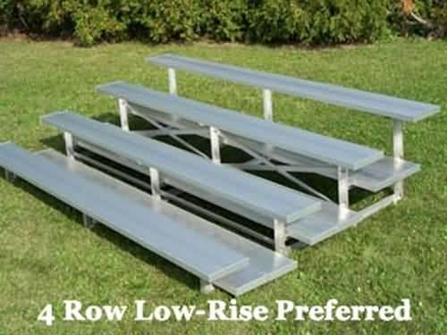 BRB-0421ALRP 4-Row 21'L Double Foot plank, Low Rise Bleacher