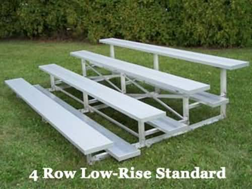 BRB-0427ALRS 4-Row , 27' , Single Foot plank, Low Rise Bleacher