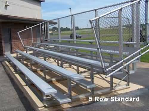 Standard Height Bleachers -5 Row -15'L -Single Footplank Aluminum Understructure