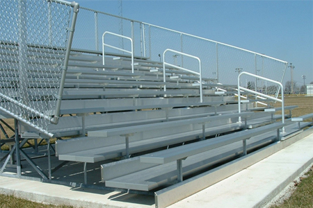 Deluxe Aluminum Bleachers with Chainlink Guardrail