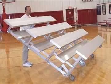 4 Row -12'L -Low Rise, Single Foot Plank, Tip n Roll Bleacher
