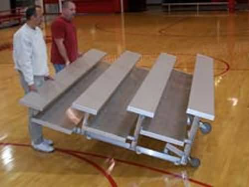 TNR-0307.5ALRP 3 Row -7.5'L -Low Rise,(2) Foot Planks, Tip n Roll Bleacher